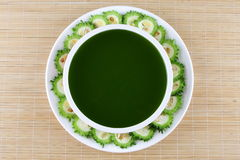 Bitter melon soup with sliced raw melons. Royalty Free Stock Photos