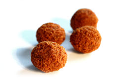 Bitterballen, a traditional Dutch deep fried meat snack, on a white background Stock Photo