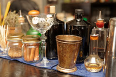 Bitters and infusions on bar counter Royalty Free Stock Photo