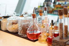 Bitters and  infusions on bar counter Royalty Free Stock Photos