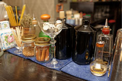Bitters and infusions on bar counter Royalty Free Stock Images