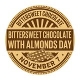 Bittersweet Chocolate with Almonds Day. November 7, rubber stamp, vector Illustration royalty free illustration