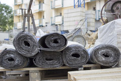 Bitumen membrane. Self adhesive bitumen membrane on a pallet stock image
