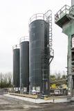 Bitumen Silos. At the Tarmac production plant at Bankfield Works, Clitheroe stock images