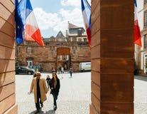 Biura de głosowania basenu stacja w Francja podczas Prezydenckiego Electi Obrazy Stock