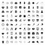 Biura 100 ikony ustawiać dla sieci Zdjęcia Stock