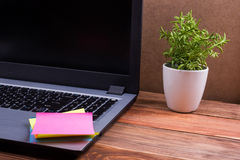 Biura stołowy biurko z dostawami, biały pusty nutowy ochraniacz, filiżanka, pióro, komputer osobisty, miął papier, kwiat na drewn Obraz Stock