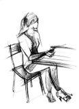 biurka dziewczyny szkoła Ilustracji