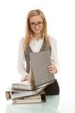 biurka falcówki odosobniona kobieta Zdjęcia Stock