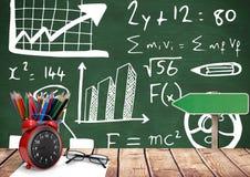 Biurka przedpole z blackboard grafika formuł równania obrazy stock