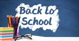 Biurka przedpole z blackboard grafika Z powrotem szkoła ilustracji