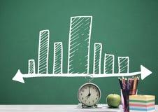 Biurka przedpole z blackboard grafika prętowe mapy incremented zdjęcie stock