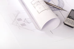 biurko architektoniczni rysunki Obrazy Royalty Free