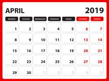 Biurko kalendarz dla APRIL2019 szablonu, Printable kalendarz, planisty projekta szablon, tydzień zaczyna na Niedziela, materiały  royalty ilustracja