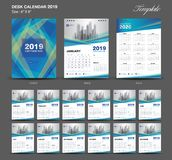 Biurko kalendarz 2019 rok rozmiar 6, 8 x calowy szablon, błękita kalendarza 2019 szablon, set 12 miesiąca, tydzień Zaczyna Ponied royalty ilustracja