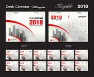 Biurko kalendarza szablonu 2018 projekt, czerwieni pokrywa, set 12 miesiąca, Fotografia Stock