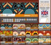 Biurko trójboka kalendarza 2018 szablon z rodzimym różyczka projektem Rozmiar: 22 cm x 12 cm Format horyzontalny niebieski obraz  royalty ilustracja