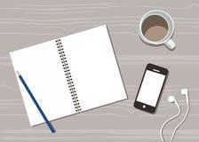 Biurko z filiżanka kawy, handphone i noter książek wektorowego płaskiego projekta odgórnym widokiem, ilustracji