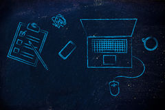 Biurko z komputerem, robić liście, kawie i telefonowi, ilustracja wektor