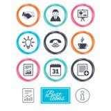 Biuro, dokumenty i biznes ikony, Zdjęcie Stock