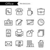 Biuro ikony cienki kreskowy set, firma i korporacje, ilustracji