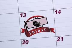 Biuro kalendarz oceniony Piątek 13th Obrazy Stock