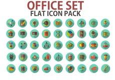 Biuro set, paczka, inkasowe płaskie ikony z długimi cieniami Obrazy Stock
