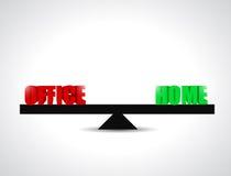 Biuro versus dom równowagi ilustracyjny projekt Obraz Royalty Free