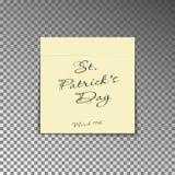 Biurowa żółta poczta notatka z teksta St Patricks dniem i data 17th marszem Papierowy szkotowy majcher z sh ilustracji