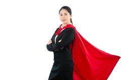 Biurowa żeńska bohater pozycja na białej ścianie Zdjęcia Stock