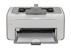 Biurowa drukarka laserowa odizolowywająca na białym tle z białym papierem Zdjęcie Royalty Free