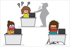 Biurowa dziewczyna w nudnym pojęcia środowisku, no chcę pracować zmęczonego i chorego ilustracja wektor