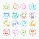 Biurowa elementu symbolu koloru linii ikona ustawiająca na białym tle - Wektorowa ilustracja Fotografia Stock