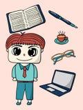 Biurowa mężczyzna i biurowych dostaw charakteru projekta ilustracja Fotografia Royalty Free