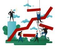 Biurowa spółdzielni praca zespołowa Sukcesu budynek Kreskowy Wzrostowy kierunek Pomyślna ścieżka Biznesowa pojęcie wektoru ilustr royalty ilustracja