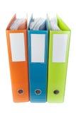 Biurowe archiwum falcówki, dokumenty i Biały tło Zdjęcia Stock