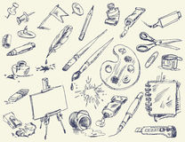 Biurowe dostawy. Produkty dla artystów Zdjęcia Stock