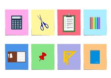 Biurowe dostawy ustawiać: notatnik, schowka kalkulator i więcej, ilustracji