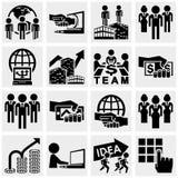 Biurowe i biznesowe wektorowe ikony ustawiać na szarość. Zdjęcia Royalty Free