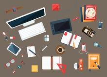 Biurowego biurka kolekcja użyteczność ilustracji