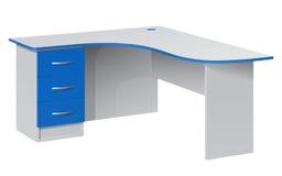 Biurowego kąta biurko z wezgłowie stołem z trzy błękitnymi pudełkami i zaokrąglonym stołowym wierzchołkiem Obraz Stock