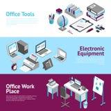 Biurowego miejsca pracy Isometric sztandary Ustawiający Obrazy Royalty Free