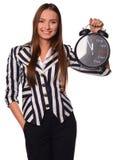 Biurowej dziewczyny seansu zegar odizolowywający na białym tle Obrazy Stock