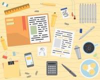 Biurowej pracy Desktop mieszkania styl ilustracja wektor