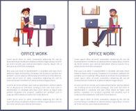 Biurowej pracy mężczyzny kobiety sztandary Ustawiający ludzie biznesu ilustracja wektor