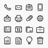 Biurowi elementy wykładają ikony ustawiać na białym tle - Wektorowa ilustracja Zdjęcie Royalty Free