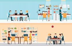 Biurowi ludzie z biurowym biurkiem ilustracja wektor