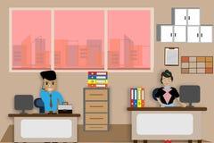 Biurowy biurko dla męskich i żeńskich pracowników Przy pracą - wektorowy illus Zdjęcia Stock