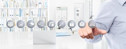 Biurowy biznesowy pracy pojęcie, ręka dotyka ekranu ikony, sieci banne Obrazy Stock