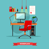Biurowy miejsca pracy wnętrze Pracy pojęcia wektorowa ilustracja w mieszkanie stylu w domu ilustracji